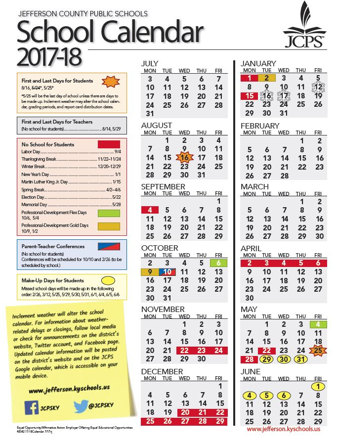 JCPS updates 2017 18 calendar, includes makeup days